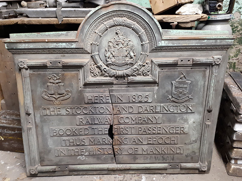 damaged plaque at william lane foundry
